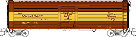 Fox Valley Models Milwaukee Road 50' Rib Side Boxcar w/yellow DF Band