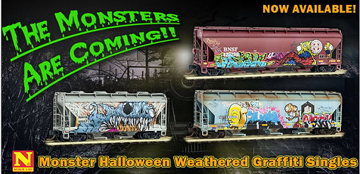 Micro-Trains Monster Halloween Graffiti cars