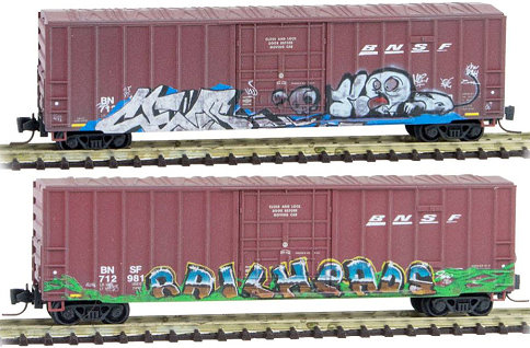 Micro-Trains Z Scale BNSF Graffitied Box Car Set