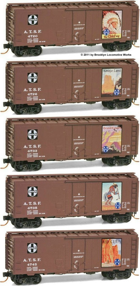 Micro-Trains Santa Fe Vintage 5 Car Poster Set