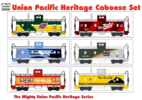 N Scale Collection Union Pacific Heritage Caboose Set