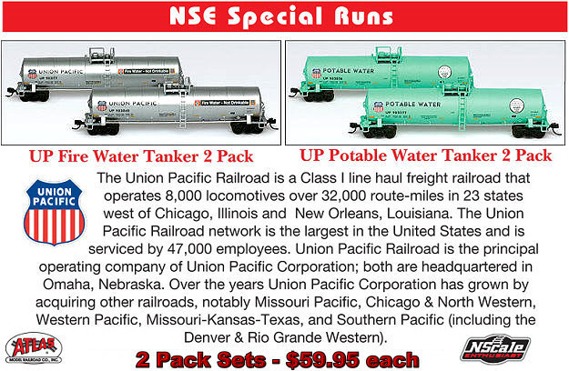 N Scale Enthusiast UP Fire Water Tank Cars