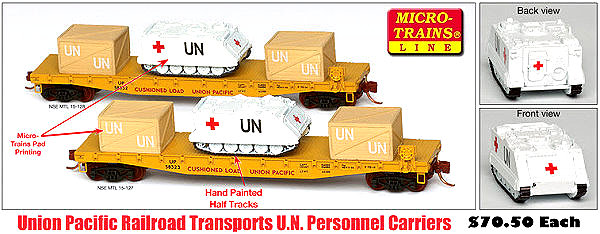 Union Pacific Flat Car with United Nations Personnel Carrier