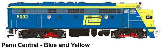 Rapido Trains N Scale Blue and Yellow Penn Central FL-9
